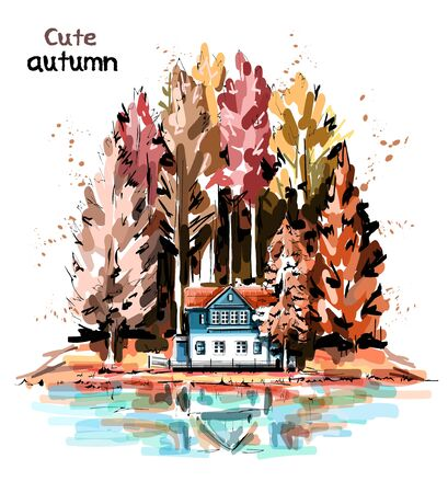 Hand drawn beautiful autumn nature with forest, house and lake. Sketch. 일러스트
