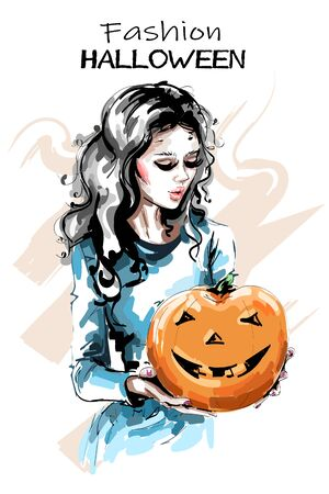 Hand drawn beautiful young woman with halloween pumpkin. Stylish elegant girl holding pumpkin with happy face. Fashion woman portrait. Sketch.