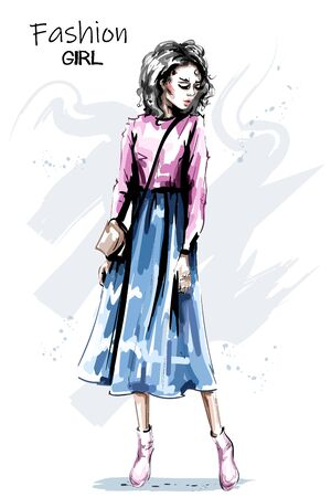 Hand drawn beautiful young woman in skirt. Stylish elegant girl outfit. Fashion woman full body portrait. Sketch.