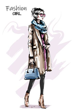 Hand drawn beautiful young woman in coat. Stylish elegant girl autumn outfit. Fashion woman full body portrait. Sketch.