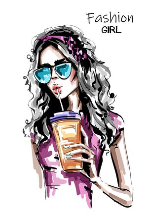 Hand drawn beautiful young woman with plastic cup. Stylish elegant girl drinking juice. Fashion woman portrait. Sketch. 일러스트