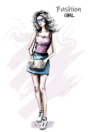 Hand drawn beautiful young woman outfit. Stylish elegant girl in sunglasses. Fashion woman with bag. Sketch.