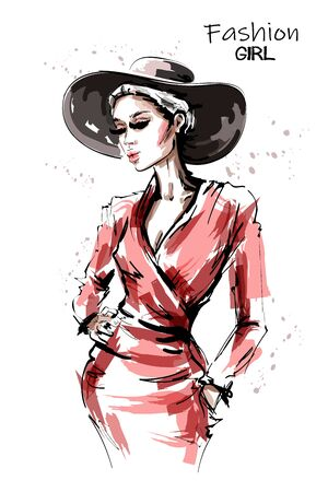 Hand drawn beautiful young woman in red dress. Stylish elegant girl in hat. Fashion woman portrait. Sketch. 일러스트