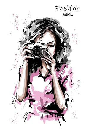 Hand drawn beautiful young woman with photo camera. Stylish elegant girl. Fashion woman portrait. Sketch.