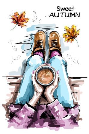 Hand drawn woman sitting and holding coffee cup. Stylish set with woman body, coffee cup and autumn leaves. Sketch.