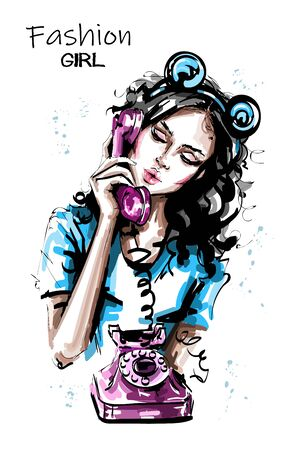 Hand drawn beautiful young woman holding handset of an old vintage style telephone. Stylish elegant girl with bear ears head accessory. Fashion woman portrait. Sketch. 일러스트