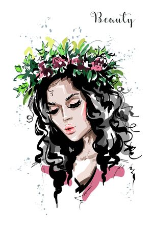Hand drawn beautiful forest girl in flower wreath. Young woman looks like a nymph dryad. Fashion woman portrait. Sketch. 일러스트