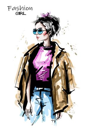Hand drawn beautiful young woman in sunglasses. Stylish elegant girl outfit. Fashion woman portrait. Sketch.