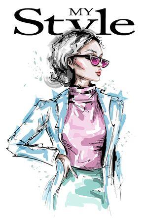 Hand drawn beautiful young woman in sunglasses. Stylish elegant girl fashion look. Fashion woman portrait. Sketch. 일러스트
