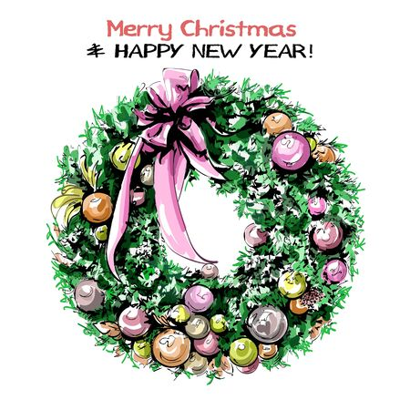 Hand drawn cute Christmas wreath with ribbons, balls and bow. Beautiful nobilis-fir wreath. Sketch.