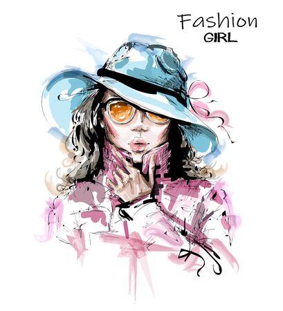 Hand drawn beautiful young woman in hat. Stylish elegant girl in sunglasses. Fashion woman portrait. Sketch.
