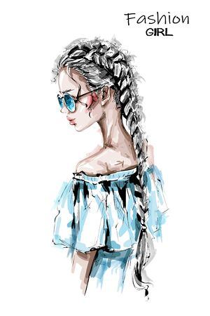 Hand drawn beautiful young woman with long braid. Stylish elegant girl in sunglasses. Fashion woman look. Sketch.