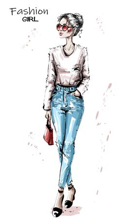 Hand drawn beautiful young woman with red bag. Stylish elegant girl in sunglasses. Fashion woman look. Sketch.