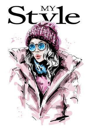 Hand drawn beautiful young woman in knit cap. Stylish girl in down jacket. Fashion woman look. Sketch. 일러스트
