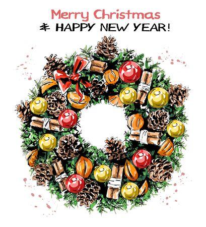Hand drawn cute Christmas wreath with ribbons, balls, pine cones, mandarines, cinnamon stick and bow. Beautiful nobilis-fir wreath. Sketch. 일러스트