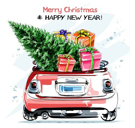 Hand drawn stylish red car with cute christmas gift boxes and fir tree. Beautiful new year set. Sketch. 일러스트