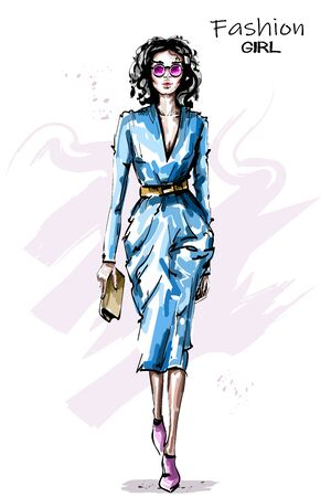 Hand drawn beautiful young woman with purse. Stylish girl outfit. Fashion woman in sunglasses. Sketch.