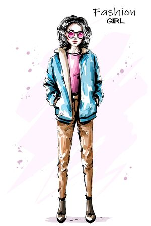 Hand drawn beautiful young woman in jacket. Stylish elegant girl in sunglasses. Fashion woman outfit. Sketch. 일러스트