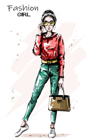 Hand drawn beautiful young woman with bag. Stylish elegant girl outfit. Fashion woman in sunglasses. Sketch.