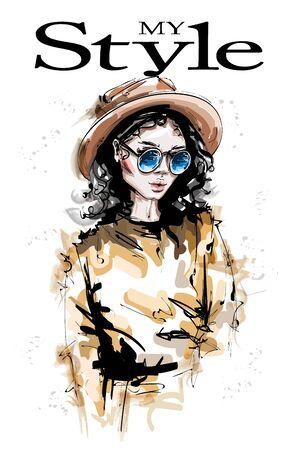Hand drawn beautiful young woman in hat. Stylish elegant girl look. Fashion woman portrait. Sketch.