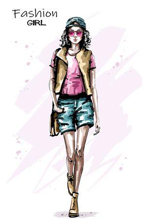 Hand drawn beautiful young woman walking. Stylish elegant girl in cap. Fashion woman look. Sketch. 일러스트