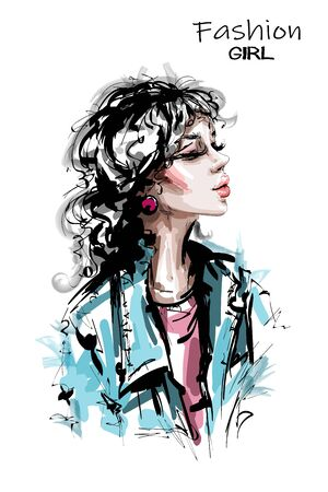 Hand drawn beautiful young woman hairstyle with bang. Stylish elegant girl in jeans jacket. Fashion woman portrait. Sketch.