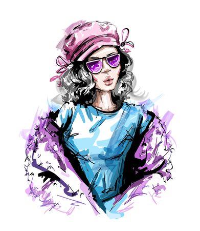 Hand drawn beautiful young woman in cap. Stylish elegant girl look. Fashion woman portrait. Sketch.
