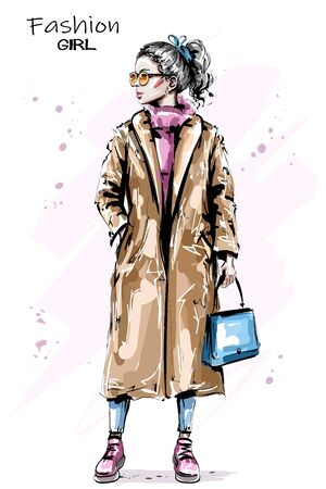 Hand drawn beautiful young woman with ponytail. Stylish elegant girl in coat. Fashion woman outfit. Sketch.