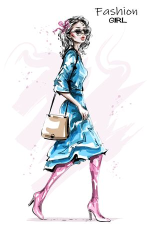 Hand drawn beautiful young woman with bag. Stylish elegant girl in dress. Fashion woman look. Sketch.