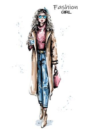 Hand drawn beautiful young woman holding plastic coffee cup. Stylish elegant girl in coat. Fashion woman look. Sketch.