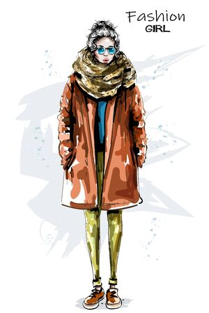 Hand drawn beautiful young woman in coat. Stylish girl in sunglasses. Fashion woman look. Winter outfit. Sketch. 일러스트