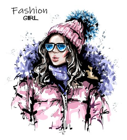 Hand drawn beautiful young woman in knit cap. Stylish girl in winter clothes. Fashion woman look. Sketch.