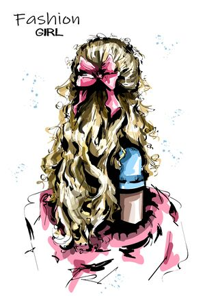 Hand drawn woman back with long blond hair. Cute hairstyle with bow. Fashion woman hairstyle. Sketch.