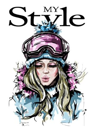 Hand drawn beautiful young woman in winter clothes. Stylish girl in winter goggles. Fashion woman look. Sketch.