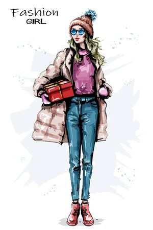 Hand drawn beautiful young woman with gift box. Stylish girl winter outfit. Fashion woman look. Sketch. Vectores