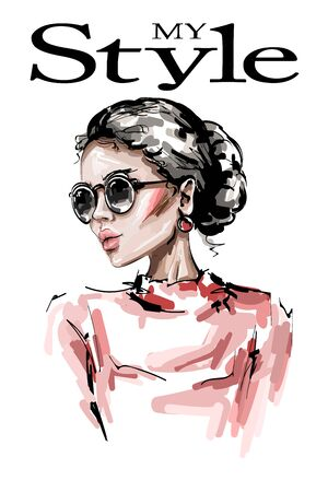 Hand drawn beautiful young woman in sunglasses. Stylish elegant girl. Fashion woman look. Sketch.