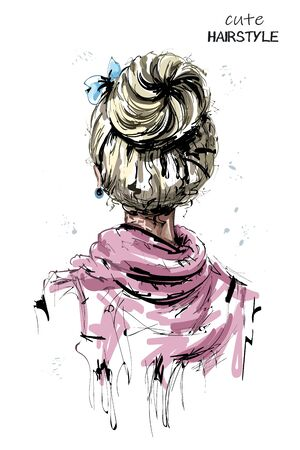 Hand drawn woman back with blonde hair. Cute hairstyle with bow. Fashion woman hairstyle. Sketch. Vector illustration.