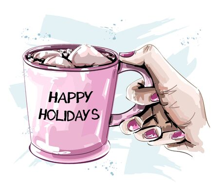 Hand holding cup with marshmallow. Beautiful winter set. Sketch. Vector illustration.