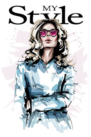 Hand drawn beautiful young woman in sunglasses. Stylish elegant girl with blonde hair. Fashion woman look. Sketch. Vectores