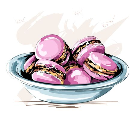 Hand drawn cute plate with pink macaroons. Beautiful cookies. Sketch. Vector illustration.