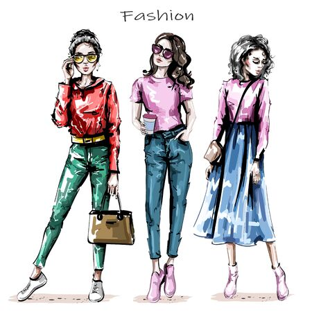 Hand drawn beautiful young women set. Stylish girls. Fashion women looks. Sketch. Vector illustration.