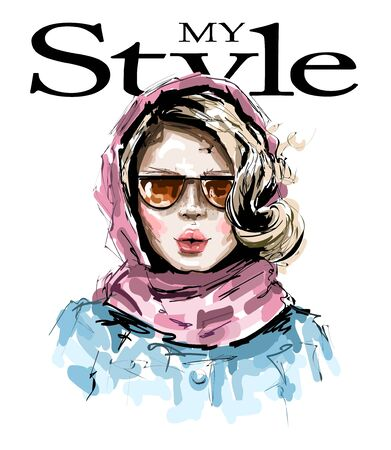 Hand drawn beautiful young woman with pink scarf on her head. Stylish elegant girl. Fashion woman look. Sketch.