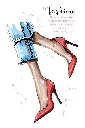 Hand drawn beautiful female legs. Stylish women red shoes. Sketch. Vector illustration.
