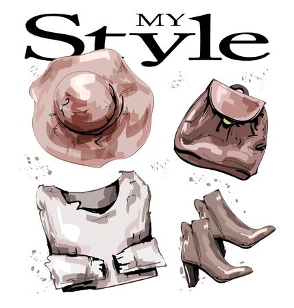 Hand drawn fashion set with hat, backpack, shoes and sweater. Stylish female outfit. Fashion women's clothing set. Sketch. Vector illustration.