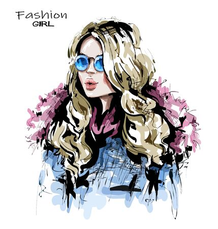Hand drawn beautiful young woman with long blonde hair. Stylish girl in fashion clothing. Fashion woman look. Sketch.