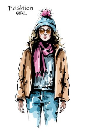 Hand drawn beautiful young woman in sunglasses. Stylish girl in winter clothes. Fashion woman look. Sketch.