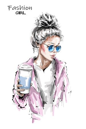 Hand drawn beautiful young woman holding plastic coffee cup. Stylish blonde hair girl. Fashion woman look. Sketch.