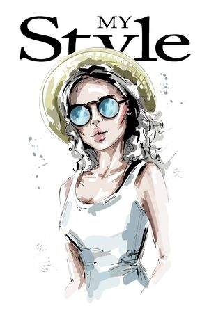Hand drawn beautiful young woman in hat. Stylish blonde hair girl in sunglasses. Fashion woman look. Sketch.