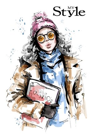 Hand drawn beautiful young woman holding fashion magazine. Stylish girl in knit cap. Fashion woman winter look. Sketch. Vectores