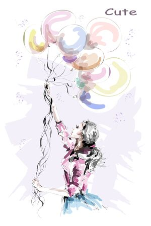 Hand drawn beautiful young woman holding colorful balloons. Stylish blonde hair girl. Fashion woman with balloons. Sketch. Vectores